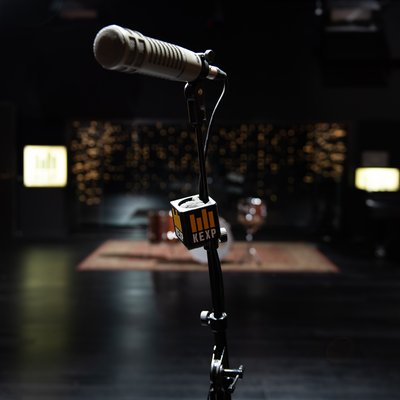 A microphone in KEXP's Live Room